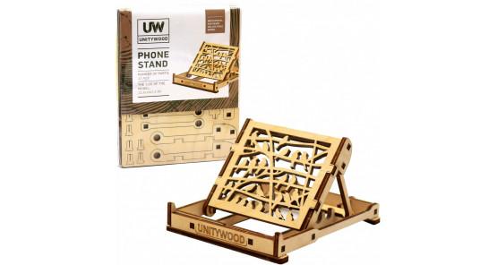 Деревянный конструктор подставка для телефона из дерева phone stand «Unitywood» собственного производства