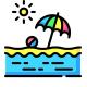 Пляжные зонты и покрывала